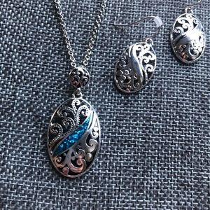 Jewelry - Silver tone Blue Necklace set